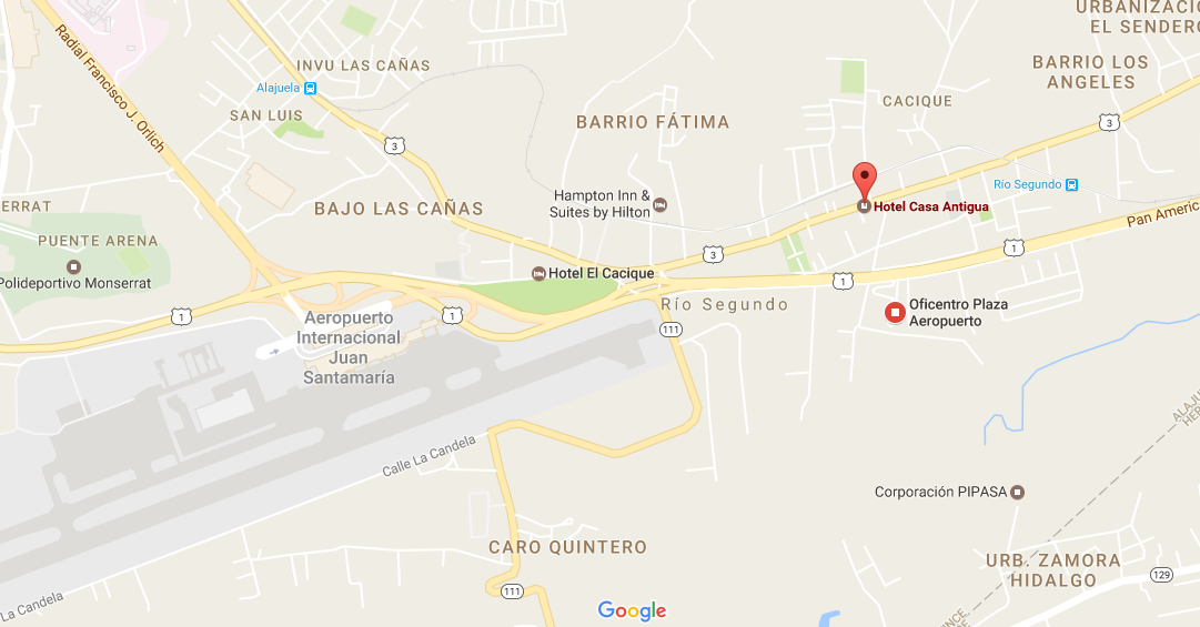 Casa Antigua Airport Hotel - Map